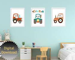 Wall Art Farm Tractor Kids Room Decor Etsy
