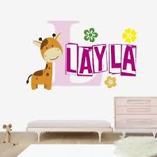 Giraffe Custom Name Wall Decal Nursery Vinyl Sticker For Wall Decor Ebay