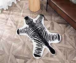 Amazon Com Faux Fur Rug 2 7 X 3 5 Feet Zebra Print Cowhide Skin Rug Animal Printed Area Rug Carpet For Decorating Kids Room Under Coffee Table Cowboy Themed Nursery Jungle Themed Room Playroom Furniture
