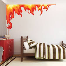 Bedroom Flame Wall Mural Decal Boys Room Corner Flame Wall Decal Flame Decals Removable Flame Stickers For Kids Bedrooms Primedecals