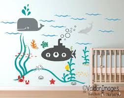Submarine Ocean Nursery Wall Decal Kids Wall Decal Nursery Decals Sea Wall Decal Nautical Wall Decal Baby Room Wall Kids Room Wall Decals Kids Wall Decals