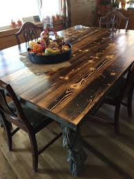 Dining Room Table Made Out Of Old Cedar Fence Post And Coral Rails Burned And Distressed The Pine Plank Pine Dining Table Dining Room Table Cedar Fence Posts