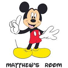 Mickey Mouse Pointing Disney Decal Childrens Wall Decal Custom Vinyl Wall Art Personalized Name Baby Girls