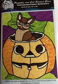 pumpkin and cat stained glass pattern
