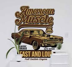 American Classic Car Salon Car Sticker Tenstickers