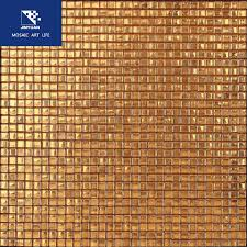 bronze gold foil glass mosaic tile