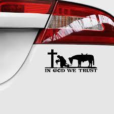 18 7 9cm Cowboy Praying Cross Riligious Church Die Cut Vinyl Window Decal Sticker Car Truck Laptop Car Stickers Aliexpress