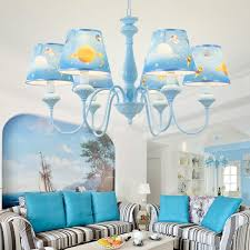 6 Head Living Room Chandelier Kids Blue Hanging Pendant Lamp With Universe Pattern Fabric Shade 110v 120v Blue Chandeliers