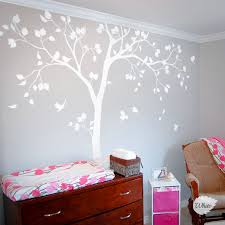 Cute Baby Nursery Tree Decal Huge White Tree Wall Sticker Home Decor Birds And Owls Wall Art Mural Baby Bedroom Decoration Cute Home Decor Olivia Decor