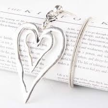 large double heart pendant necklace