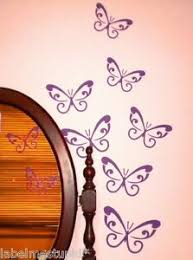 Any Colour Set Of 7 Large Assorted Sizes Swirl Butterfly Wall Stickers Car Ebay