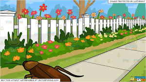 A Pestering Cockroach And White Picket Fence Background Clipart Cartoons By Vectortoons
