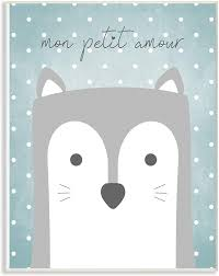 Amazon Com The Kids Room By Stupell Mon Petit Amour Grey Fox With Blue Polka Dots Wall Plaque Art 10 X 15 Proudly Made In Usa Multicolor Baby