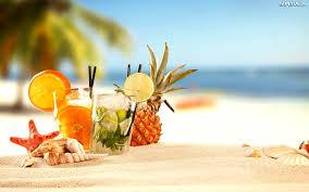 Tropikalna, Plaża, Kolorowe, Drinki, Lato