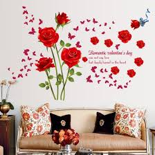 Shop Red Rose Flower Butterfly Wall Sticker Tv Background Stickers Wall Art Home Decor Wall Decal Online From Best Wall Stickers Murals On Jd Com Global Site Joybuy Com