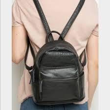 mini black faux leather backpack