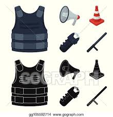Vector Illustration Bulletproof Vest Megaphone Cone Of Fencing Electric Shock Police Set Collection Icons In Cartoon Black Style Vector Symbol Stock Illustration Web Stock Clip Art Gg105592714 Gograph