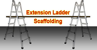 scaffold from two extension ladders