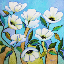 White Poppies Painting by Peggy Davis | Saatchi Art