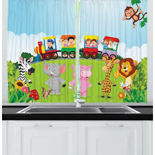 Cartoon Curtains 2 Panels Set Kids Nursery Design Happy Children On A Choo Choo Train With