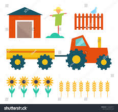 Farm Tractor Trailer Building Shed Scarecrow Stock Vector Royalty Free 1162099471