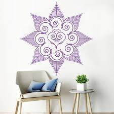 Mandala Flower Wall Decal Classroom Decorative India Henna Vinyl Wall Sticker Abstract Home Decor Living Room Background Z593 Wall Stickers Aliexpress