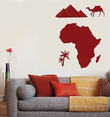Vinyl Decal Wall Sticker African Continent Symbol Camel Palm Pyramids N820 Ebay