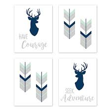 Amazon Com Sweet Jojo Designs Navy Blue Mint And Grey Woodland Deer Wall Art Prints Room Decor For Baby Nursery And Kids For Woodsy Collection Set Of 4 Seek Adventure Have