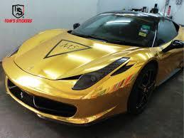 Ferrari Chrome Gold Full Wrap By Tom S Stickers Car Wrap Ferrari Stickers