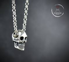 silver skull necklace for men solid