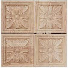 Amazon Com Wood Carved Applique Carving Checkered Unpainted Decal For Cabinet Door Furniture Decoration 4pcs 4 Arts Crafts Sewing