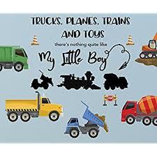 Amazon Com Create A Mural Boys Trucks N Quote Wall Decals Vinyl Boys Room Wall Sticker Decor Trucks Trains Planes Boys Room Decor Home Kitchen