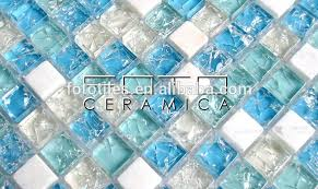 mixed blue ed broken glass mosaic