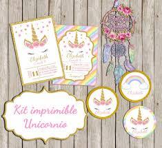 2 Kit Imprimible Unicornio Personalizado Listo Para Imprimir