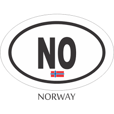 Norway Black And White Oval Decal Flags N Gadgets