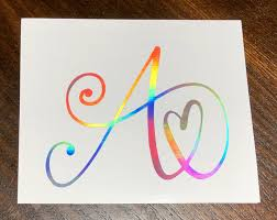 Holographic Heart Letter Decal Initial Sticker Single Letter Etsy Initials Decal Initials Sticker Letter Decals