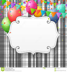 Empty Birthday Greeting Card With Balloons And Flags Stock Vector