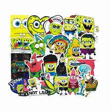 22pcs Lot Spongebob Squarepants Waterproofsticker For Kids Toy Luggage Skateboard Phone On Car Laptop Moto Guitar Car Diy Decal Car Stickers Aliexpress