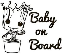 Amazon Com Baby Groot Baby On Board Vinyl Sticker Decals For Car Bumper Window Laptop Tablet Phone 6 X 7 Black Home Improvement