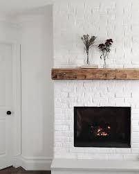 white brick fireplace white brick