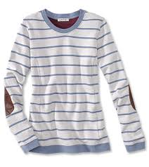 leather elbow patch striped sweatshirt