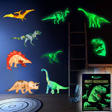 Dinosaur Wall Decals For Boys Girls Room Glow In The Dark Stickers Large Removable Vinyl Decor For Bedroom Living Room Classroom Cool Light Art Kids Birthday Christmas Gift Toddlers And Teens