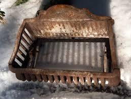 antique cast iron fireplace basket