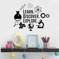 Science Wall Decal Learn Discover Explore Chemistry Classroom Sign Motivation Vinyl Sticker Study Quote Gift School Decor Wl935 Wall Stickers Aliexpress