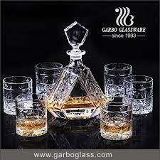 european crystal whiskey decanter set