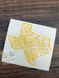 Texas Decal Yellow Rose Of Texas Texas Rose Decal Car Etsy