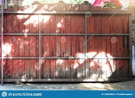 Wooden Fence Sliding Large Sized Are Made Of Steel Frame Used I Stock Image Image Of Light Driveway 130665923