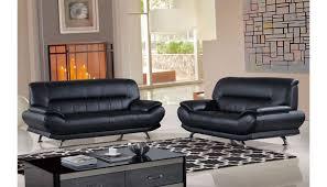 bella black genuine leather modern sofa