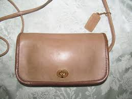coach vintage brown leather small flap