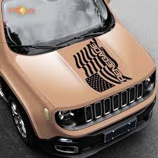 Product 2015 2019 Waving American Flag Jeep Renegade Logo Vinyl Hood Decal